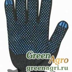 Перчатки х/б с ПВХ (черные) 10 класс 3 нити 41 грамм х10/200/250/300