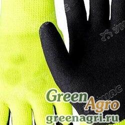 """Перчатки """"обливные"""" нейлоновые Вспененный ПВХ желто-черные. Обливные пальцы NA2079 (12/600)"""