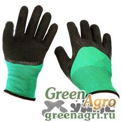 """Перчатки """"обливные"""" нейлон вспенный ПВХ. зелено-черные. Обливные пальцы NA2084 (12/600)"""
